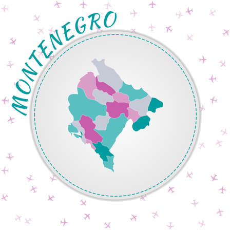 Montenegro map design. Map of the country with regions in emerald-amethyst color palette. Rounded travel to Montenegro poster with country name and airplanes background. Amazing vector illustration.