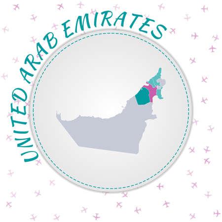Kartendesign der Vereinigten Arabischen Emirate. Landkarte mit Regionen in Smaragd-Amethyst-Farbpalette. Abgerundete Reise nach VAE-Poster mit Ländernamen und Flugzeughintergrund. Charmante Vektor-Illustration. Vektorgrafik