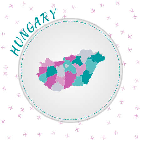 Hungary map design. Map of the country with regions in emerald-amethyst color palette. Rounded travel to Hungary poster with country name and airplanes background. Classy vector illustration. Vectores