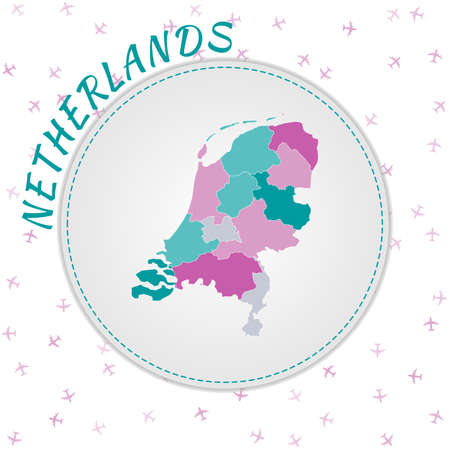 Netherlands map design. Map of the country with regions in emerald-amethyst color palette. Rounded travel to Netherlands poster with country name and airplanes background. Cool vector illustration. Vectores