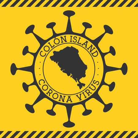 Corona virus in Colon Island sign. Round badge with shape of virus and Colon Island map. Yellow island epidemy lock down stamp. Vector illustration.
