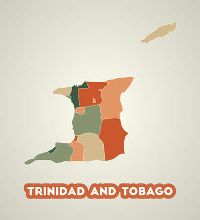 Trinidad and Tobago poster in retro style. Map of the country with regions in autumn color palette. Shape of Trinidad and Tobago with country name. Superb vector illustration.