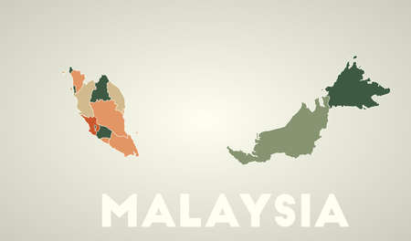 Malaysia poster in retro style. Map of the country with regions in autumn color palette. Shape of Malaysia with country name. Appealing vector illustration.