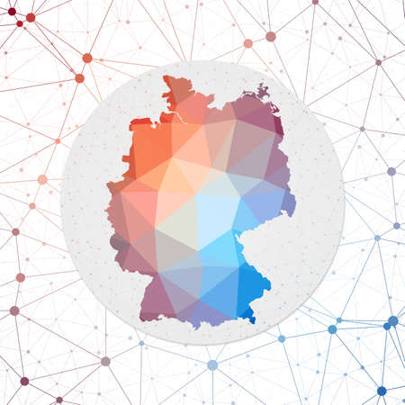 Abstract vector map of Germany. Technology in the country geometric style poster. Polygonal Germany map on 3d triangular mesh background. Vector.