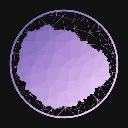 La Gomera icon. Vector polygonal map of the island. La Gomera icon in geometric style. The island map with purple low poly gradient on dark background.