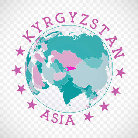 Kyrgyzstan round. Badge of country with map of Kyrgyzstan in world context. Country sticker stamp with globe map and round text. Creative vector illustration.