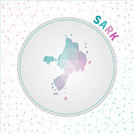 Vector polygonal Sark map. Map of the island with network mesh background. Sark illustration in technology, internet, network, telecommunication concept style . Vibrant vector illustration.