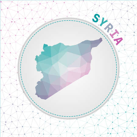 Vector polygonal Syria map. Map of the country with network mesh background. Syria illustration in technology, internet, network, telecommunication concept style . Astonishing vector illustration.
