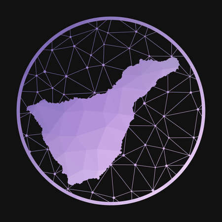 Tenerife icon. Vector polygonal map of the island. Tenerife icon in geometric style. The island map with purple low poly gradient on dark background. Illustration