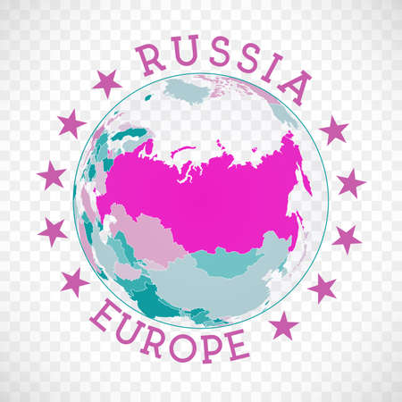 Russia round. Badge of country with map of Russia in world context. Country sticker stamp with globe map and round text. Neat vector illustration.