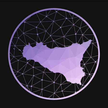 Sicilia icon. Vector polygonal map of the island. Sicilia icon in geometric style. The island map with purple low poly gradient on dark background.