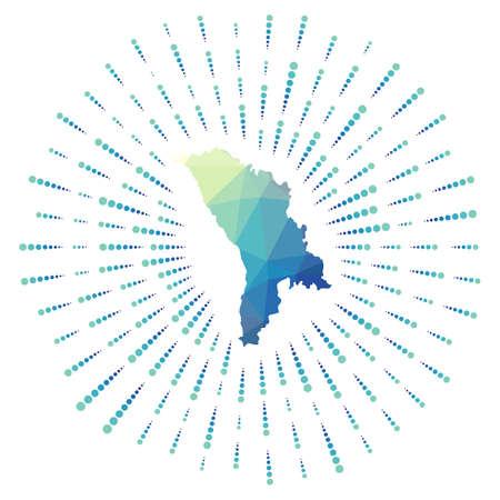 Shape of Moldova, polygonal sunburst. Map of the country with colorful star rays. Moldova illustration in digital, technology, internet, network style. Vector illustration. Vektorové ilustrace