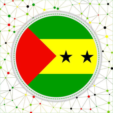 Flag of Sao Tome and Principe with network background. Sao Tome and Principe sign. Amazing vector illustration.