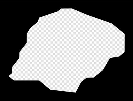 Stencil map of Inisheer. Simple and minimal transparent map of Inisheer. Black rectangle with cut shape of the island. Powerful vector illustration.