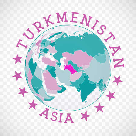 Turkmenistan round. Badge of country with map of Turkmenistan in world context. Country sticker stamp with globe map and round text. Modern vector illustration.