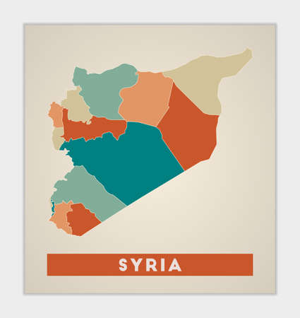 Syria poster. Map of the country with colorful regions. Shape of Syria with country name. Artistic vector illustration.