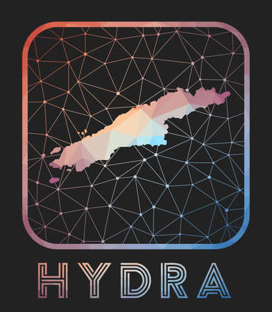 Hydra map design. Vector low poly map of the island. Hydra icon in geometric style. The island shape with polygnal gradient and mesh on dark background.