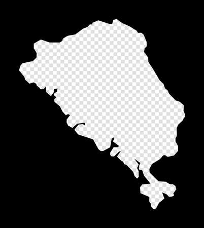 Stencil map of Colon Island. Simple and minimal transparent map of Colon Island. Black rectangle with cut shape of the island. Authentic vector illustration.