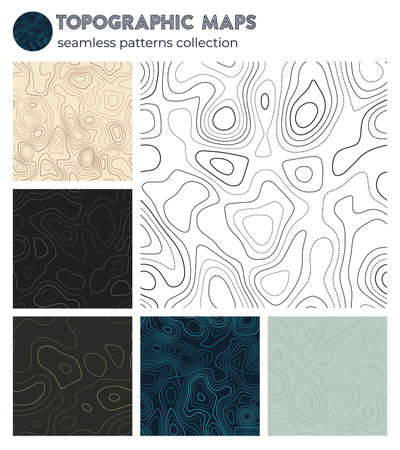 Topographic maps. Beautiful isoline patterns, seamless design. Artistic tileable background. Vector illustration.