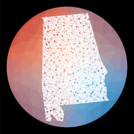 Vector network Alabama map. Map of the us state with low poly background. Rounded Alabama illustration in technology, internet, network, telecommunication concept style . Artistic vector illustration.