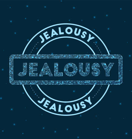 Jealousy. Glowing round badge. Network style geometric jealousy stamp in space. Vector illustration. Illustration