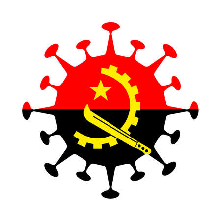 Flag of Angola in virus shape. Country sign. Vector illustration.
