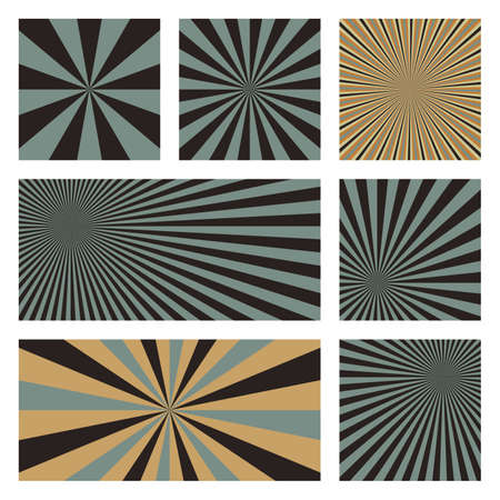 Astonishing sunburst background collection. Abstract covers with radial rays. Powerful vector illustration.