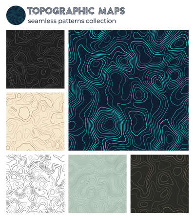 Topographic maps. Appealing isoline patterns, seamless design. Artistic tileable background. Vector illustration. Vecteurs