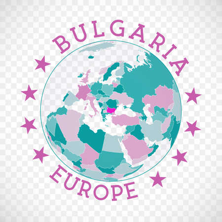 Bulgaria round logo. Badge of country with map of Bulgaria in world context. Country sticker stamp with globe map and round text. Neat vector illustration.