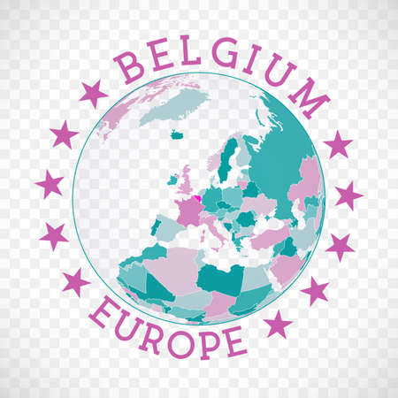 Belgium round logo. Badge of country with map of Belgium in world context. Country sticker stamp with globe map and round text. Cool vector illustration. Ilustração