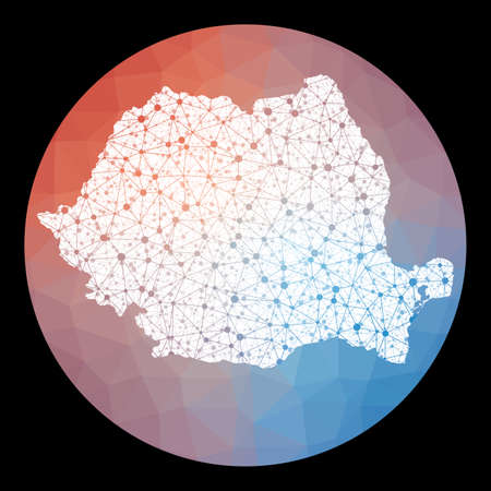 Vector network Romania map. Map of the country with low poly background. Rounded Romania illustration in technology, internet, network, telecommunication concept style . Authentic vector illustration. Ilustracja
