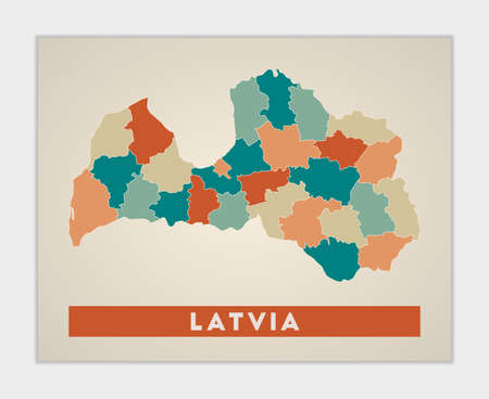Latvia poster. Map of the country with colorful regions. Shape of Latvia with country name. Elegant vector illustration. Ilustração