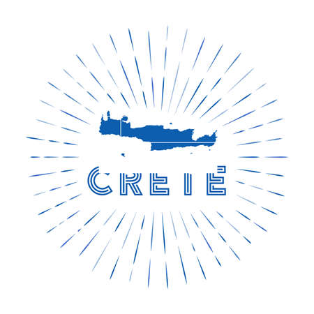 Crete sunburst badge. The island sign with map of Crete with Greek flag. Colorful rays around the logo. Vector illustration.