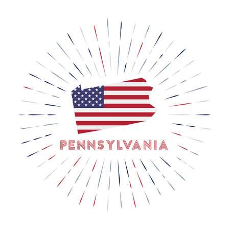 Pennsylvania sunburst badge. The us state sign with map of Pennsylvania with American flag. Colorful rays around the logo. Vector illustration.