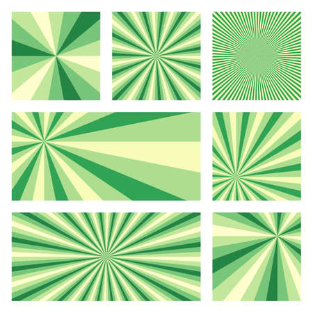 Astonishing sunburst background collection. Abstract covers with radial rays. Artistic vector illustration.
