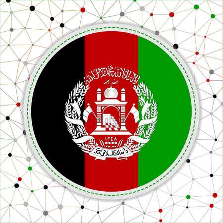 Flag of Afghanistan with network background. Afghanistan sign. Appealing vector illustration. Vektorgrafik