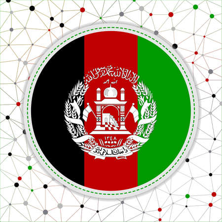 Flag of Afghanistan with network background. Afghanistan sign. Appealing vector illustration.