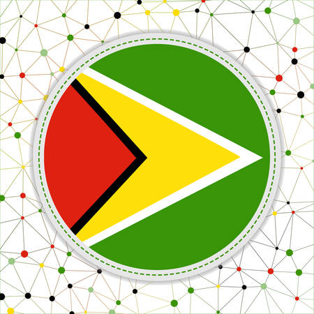 Flag of Guyana with network background. Guyana sign. Attractive vector illustration.