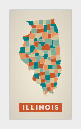 Illinois poster. Map of the us state with colorful regions. Shape of Illinois with us state name. Radiant vector illustration.
