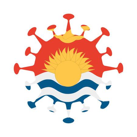 Flag of Kiribati in virus shape. Country sign. Vector illustration.