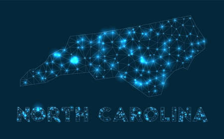 North Carolina network map. Abstract geometric map of the us state. Internet connections and telecommunication design. Appealing vector illustration.