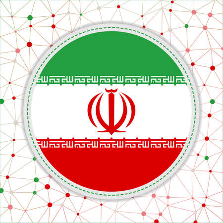 Flag of Iran with network background. Iran sign. Powerful vector illustration. Çizim