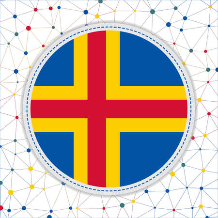 Flag of Aland with network background. Aland sign. Attractive vector illustration.