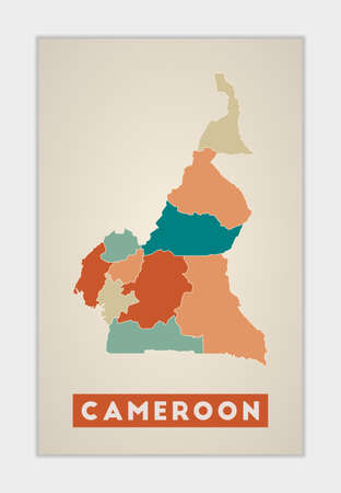 Cameroon poster. Map of the country with colorful regions. Shape of Cameroon with country name. Powerful vector illustration.