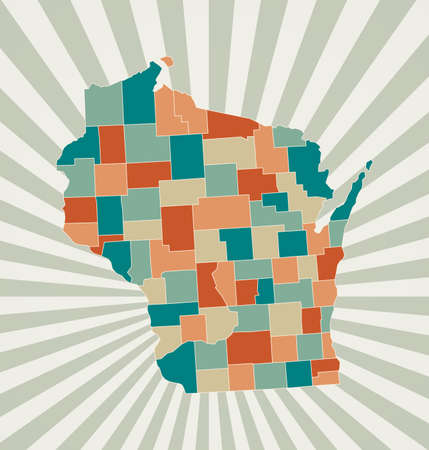 Wisconsin map. Poster with map of the us state in retro color palette. Shape of Wisconsin with sunburst rays background. Vector illustration.