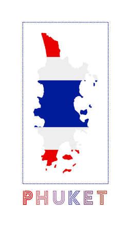 Phuket Logo. Map of Phuket with island name and flag. Authentic vector illustration.