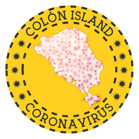 Coronavirus in Colon Island sign. Round badge with shape of Colon Island. Yellow island lock down emblem with title and virus signs. Vector illustration. Stock Illustratie