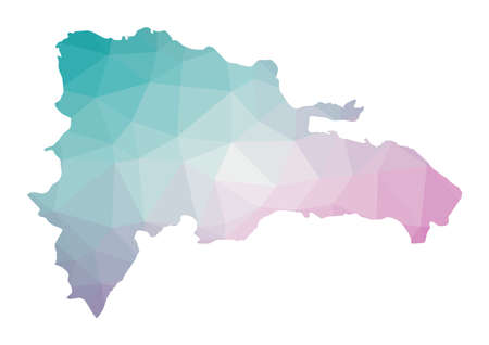 Polygonal map of Dominicana. Geometric illustration of the country in emerald amethyst colors. Dominicana map in low poly style. Technology, internet, network concept. Vector illustration.