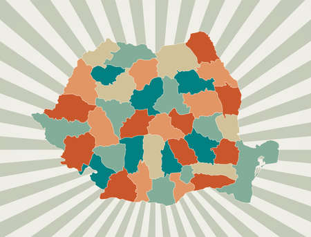 Romania map. Poster with map of the country in retro color palette. Shape of Romania with sunburst rays background. Vector illustration. Ilustracja