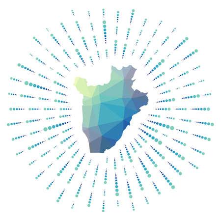 Shape of Burundi, polygonal sunburst. Map of the country with colorful star rays. Burundi illustration in digital, technology, internet, network style. Vector illustration. Illustration